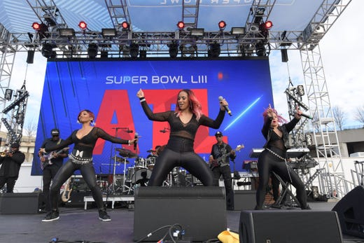 Simply Irresistible performs outside Mercedes-Benz Stadium before Super Bowl LIII.