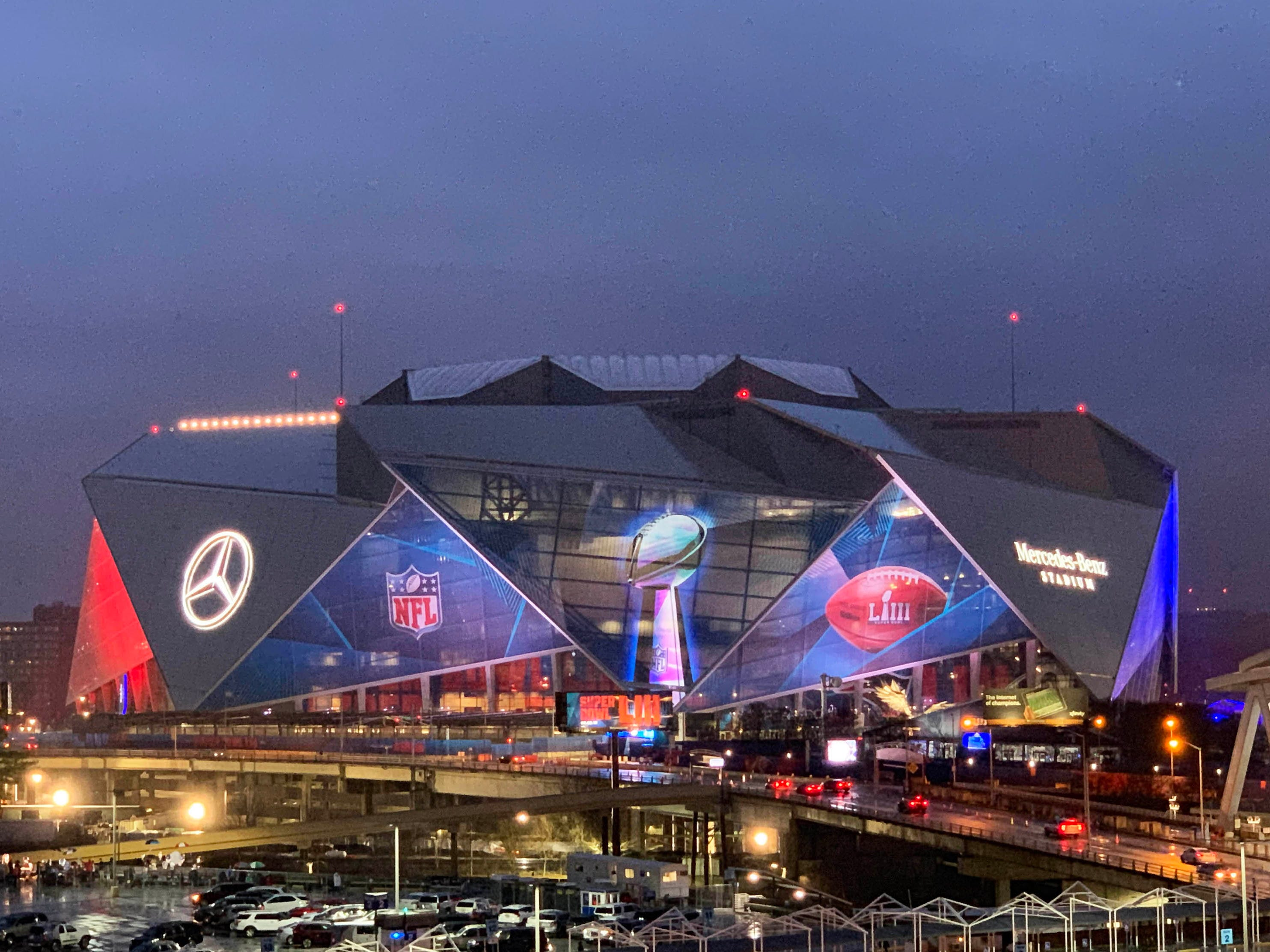 Mercedes-Benz Stadium before Super Bowl LIII between the Patriots and Rams.