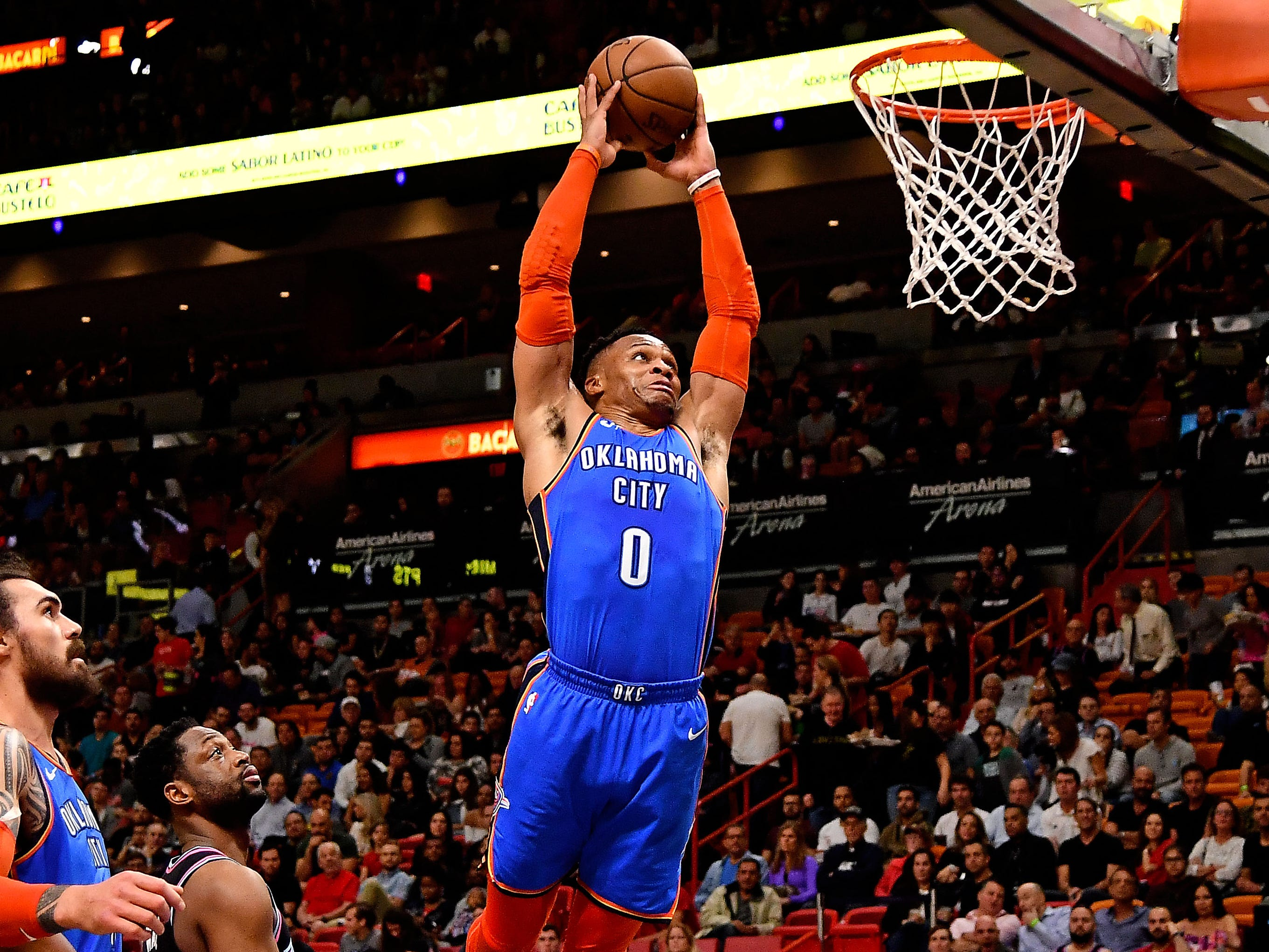 70. Russell Westbrook, Thunder (Feb. 1): 14 points, 14 assists, 12 rebounds in 118-102 win over Heat (18th of season).