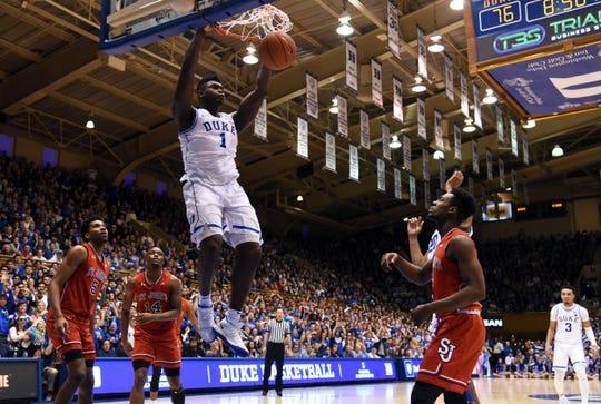 Zion Williamson (1) dunks during the second half of Duke's game against St. John's on Feb. 2.