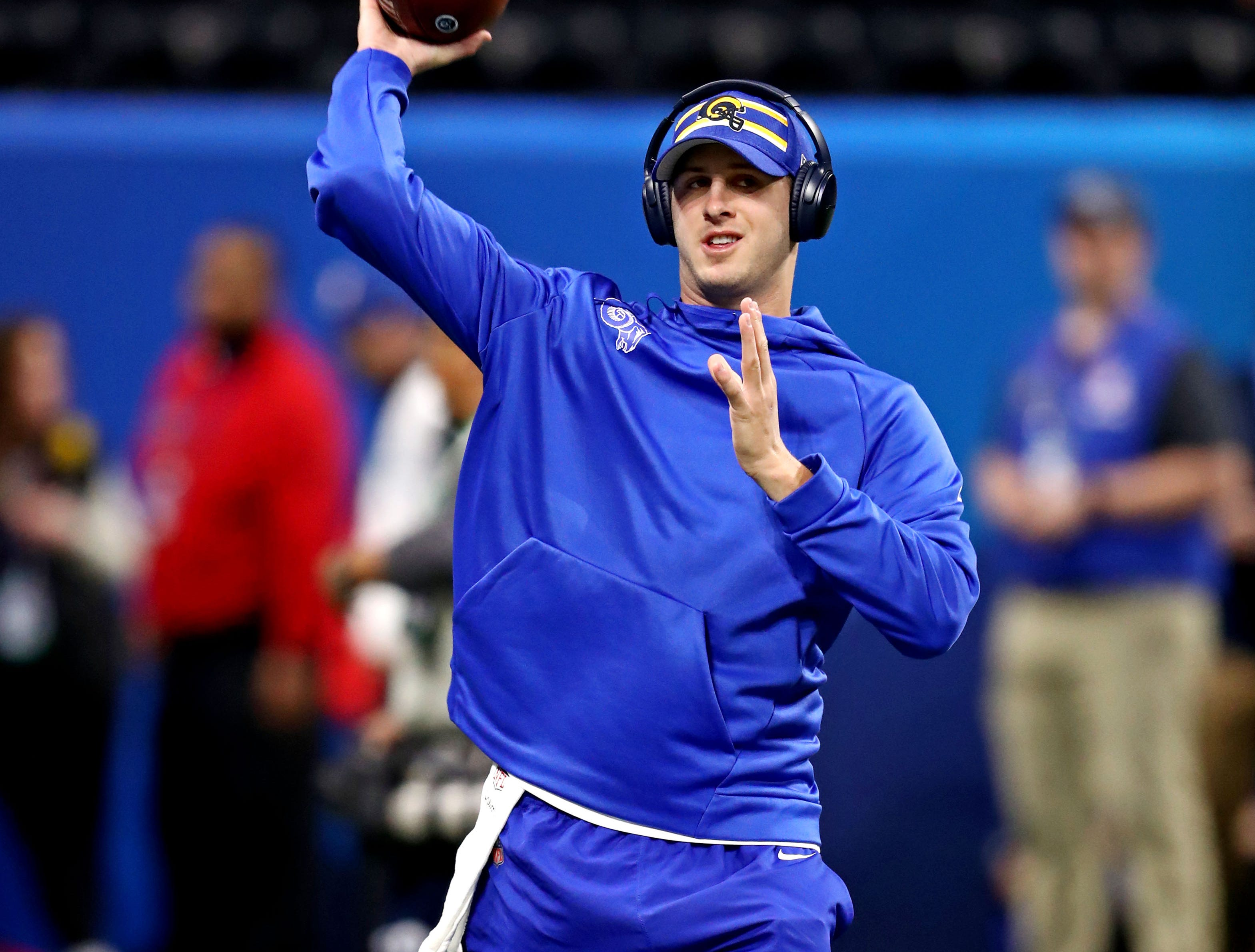 Los Angeles Rams quarterback Jared Goff warms up before Super Bowl LIII at Mercedes-Benz Stadium.