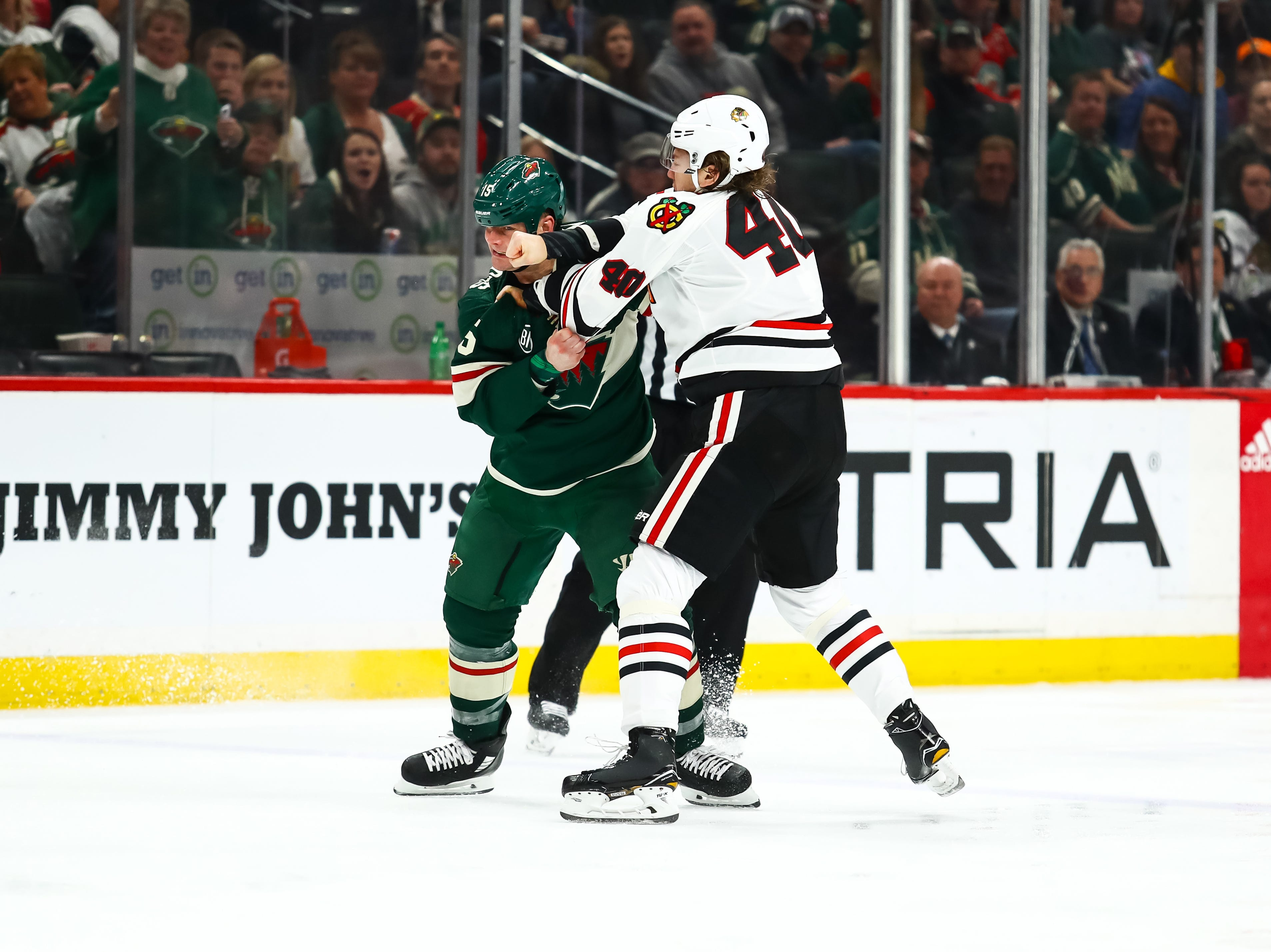 Feb. 2: Minnesota Wild's Matt Hendricks vs. Chicago Blackhawks' John Hayden.