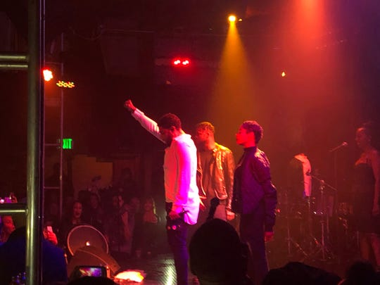 Singer Jussie Smollett gestures onstage during his concert at The Troubadour Saturday in West Hollywood, Calif.