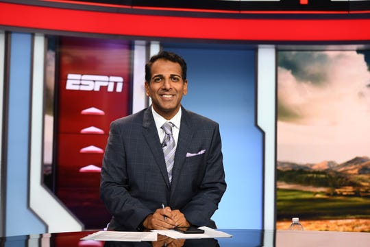 One of ESPN host Adnan Virk's many duties at the network was anchoring the College Football Scoreboard show.