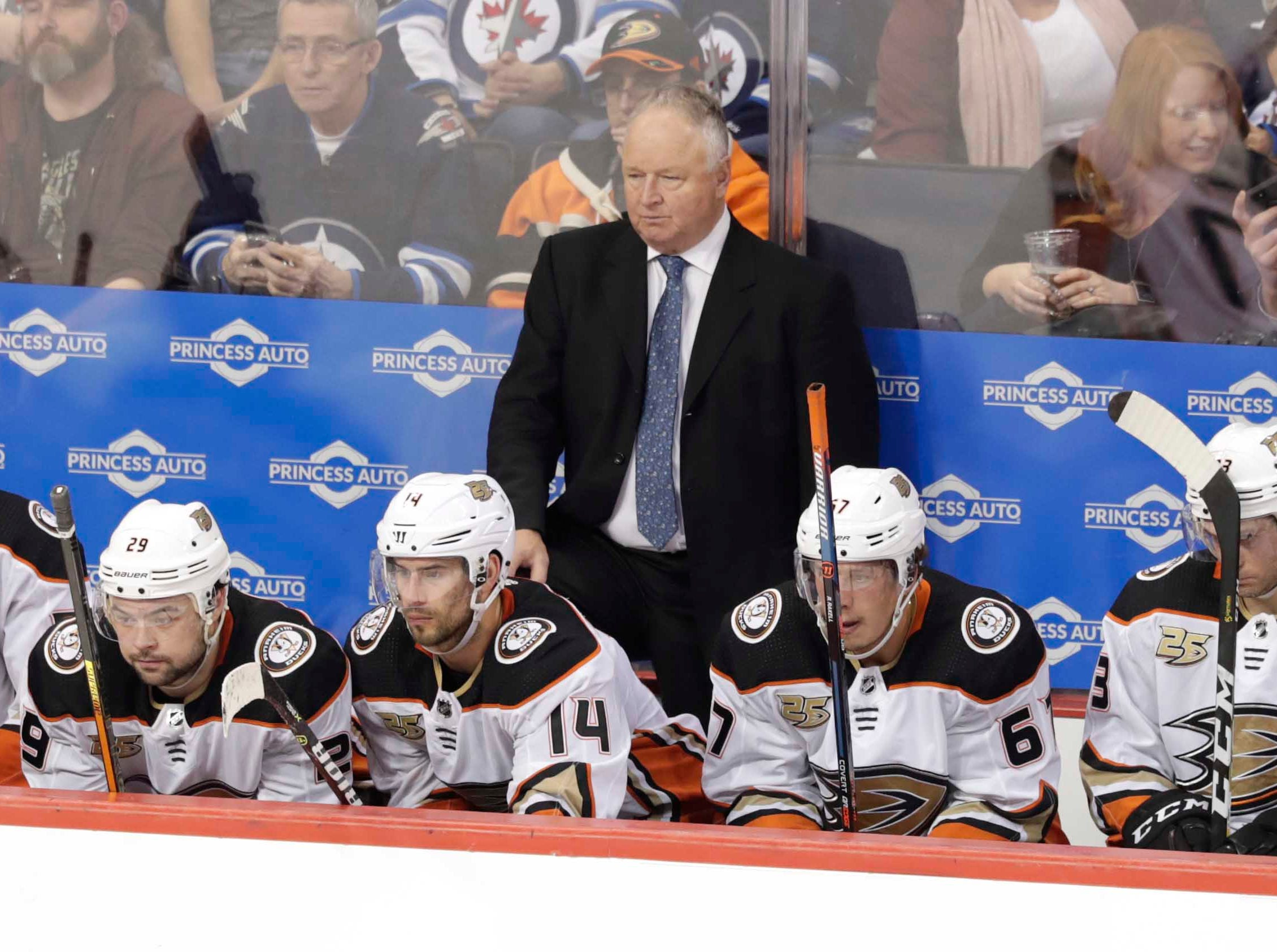 Feb. 2: Anaheim Ducks coach Randy Carlyle looks on against the Winnipeg Jets. His team gave up six first-period goals on the way to a 9-3 loss.