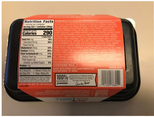 The back of the mislabeled chicken product from Taylor Farms.