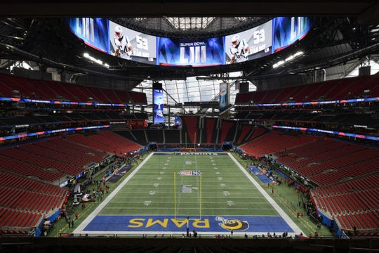Inside Mercedes-Benz Stadium before Super Bowl LIII between the Patriots and Rams.