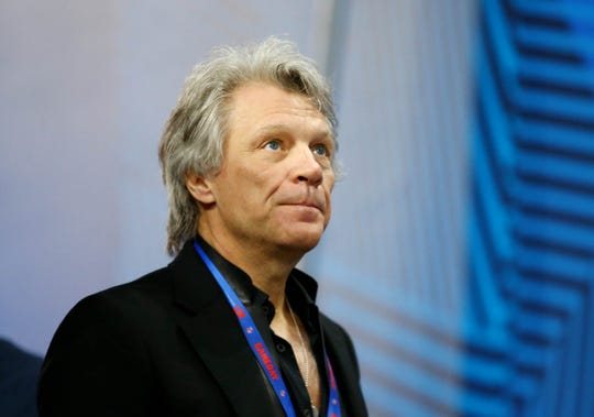 Singer  Jon Bon Jovi arrives before Super Bowl LIII between the New England Patriots and the Los Angeles Rams at Mercedes-Benz Stadium.