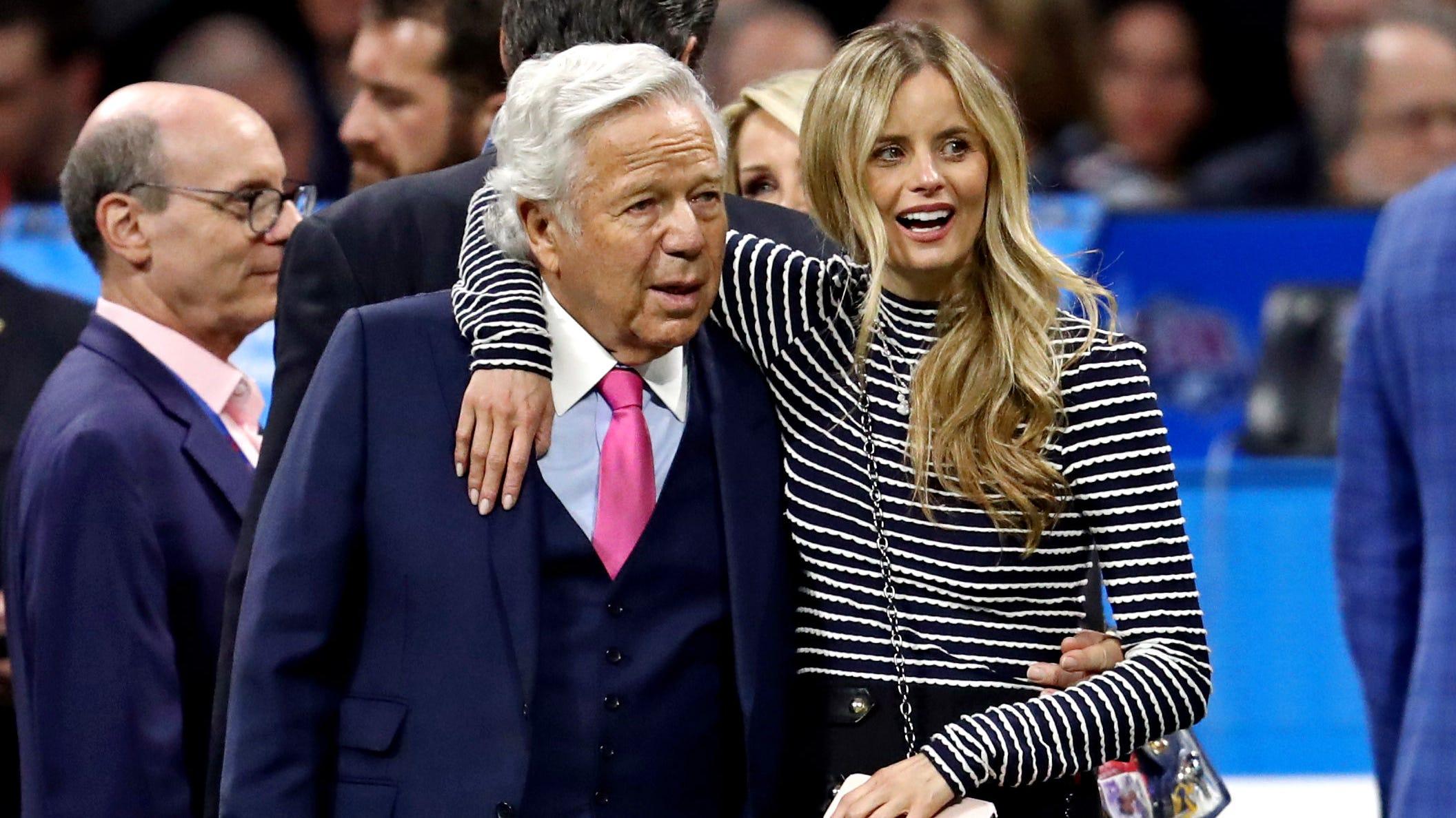 Patriots owner Robert Kraft and his girlfriend, Ricki Noel Lander, watched pregame festivities at Mercedes-Benz Stadium before Super Bowl LIII.