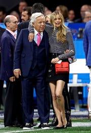 Patriots owner Robert Kraft and his girlfriend, Ricki Noel Lander, watched pregame festivities before Super Bowl LIII.