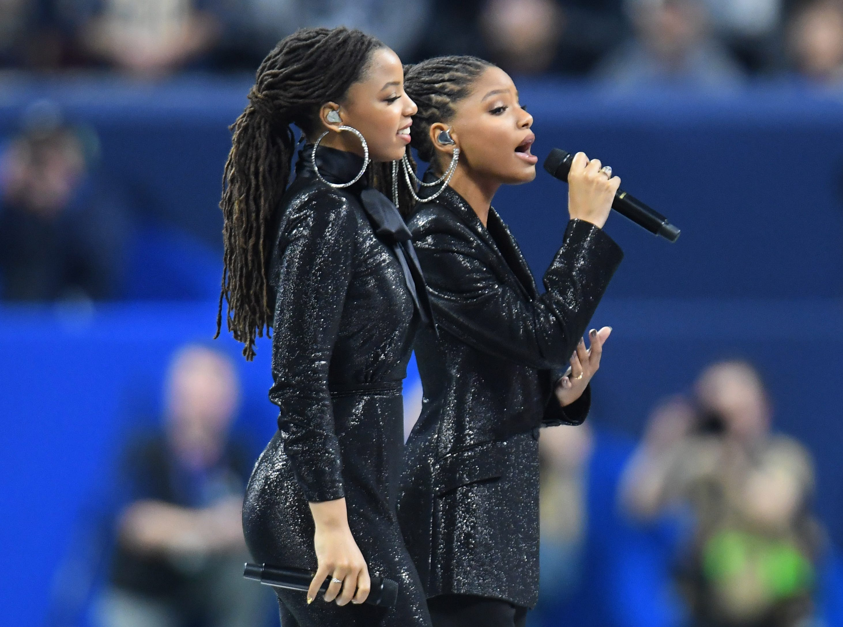 "R&B sister duo Chloe x Halle perform ""America the Beautiful"" before Super Bowl LIII at Mercedes-Benz Stadium in Atlanta."