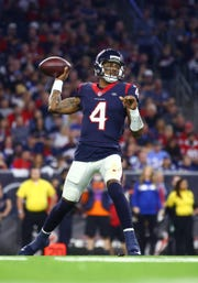 Jan 5, 2019; Houston, TX, USA; Houston Texans quarterback Deshaun Watson (4) against the Indianapolis Colts in the AFC Wild Card playoff football game at NRG Stadium. Mandatory Credit: Mark J. Rebilas-USA TODAY Sports
