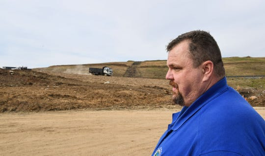 Jason Anders, director of the Pickens County Solid Waste Department stands near a nearly full landfill in Liberty Monday. The area is expected to be full in six to eight months.