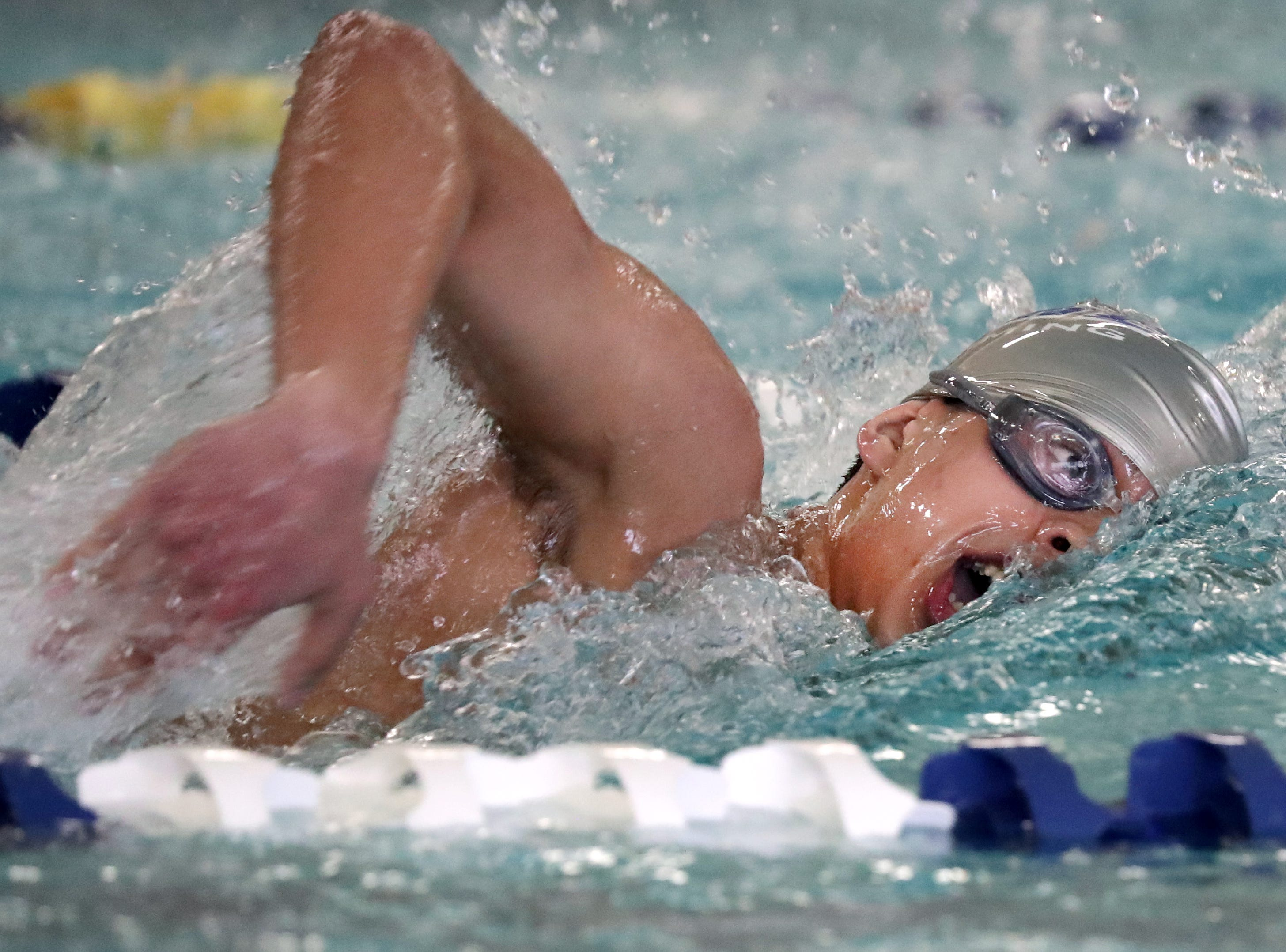 Appleton North/East's Mehul Randbulla competes in the 200 yard IM during the Fox Valley Association conference swim championships on Saturday, February 2, 2019, at Appleton North High School in Appleton, Wis.