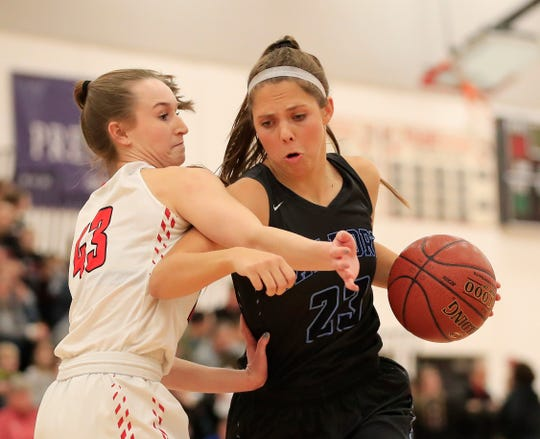 Bay Port's Emma Nagel (23) dribbles against Pulaski's Paige Steinbrecher (43) in a girls basketball game at Pulaski high school on Jan. 4. Nagel and Pirates are the top-ranked team in the USA TODAY NETWORK-Wisconsin composite rankings.