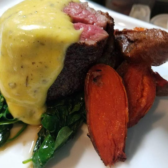 Cavé Bistro in Avon will serve sous vide filet mignon with heritage bacon, roasted sweet potatoes, spinach and Béarnaise sauce on Valentine's Day.