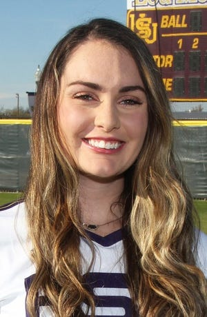 Hardin-Simmons' Taylor Hinojos hit an RBI triple in Thursday's 4-1 win against Sul Ross State in the American Southwest Conference tournament on Thursday night.