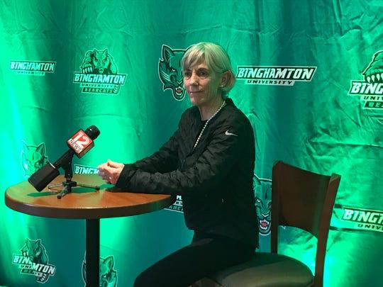 Joan Benoit Samuelson, 1984 Olympic marathon winner, addresses the media Monday at Binghamton University. Benoit Samuelson spoke during BU's 14 annual Celebrating Women's Athletics Luncheon at the Events Center.