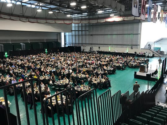 About 800 people attended Monday's Celebrating Women's Athletics Luncheon at Binghamton University's Events Center.