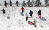 A snow storm brought hazardous driving conditions Monday.