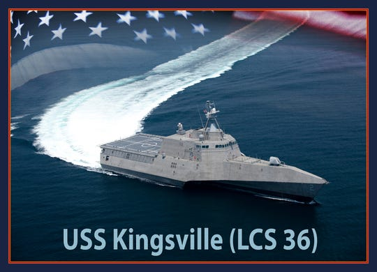 A graphic illustration of the future Independence-variant littoral combat ship USS Kingsville (LCS 36). The ship will be named in honor of the city of Kingsville, Texas, and is the first ship to bear the name. (U.S. Navy graphic by Mass Communication Specialist 2nd Class Paul L. Archer/Released)