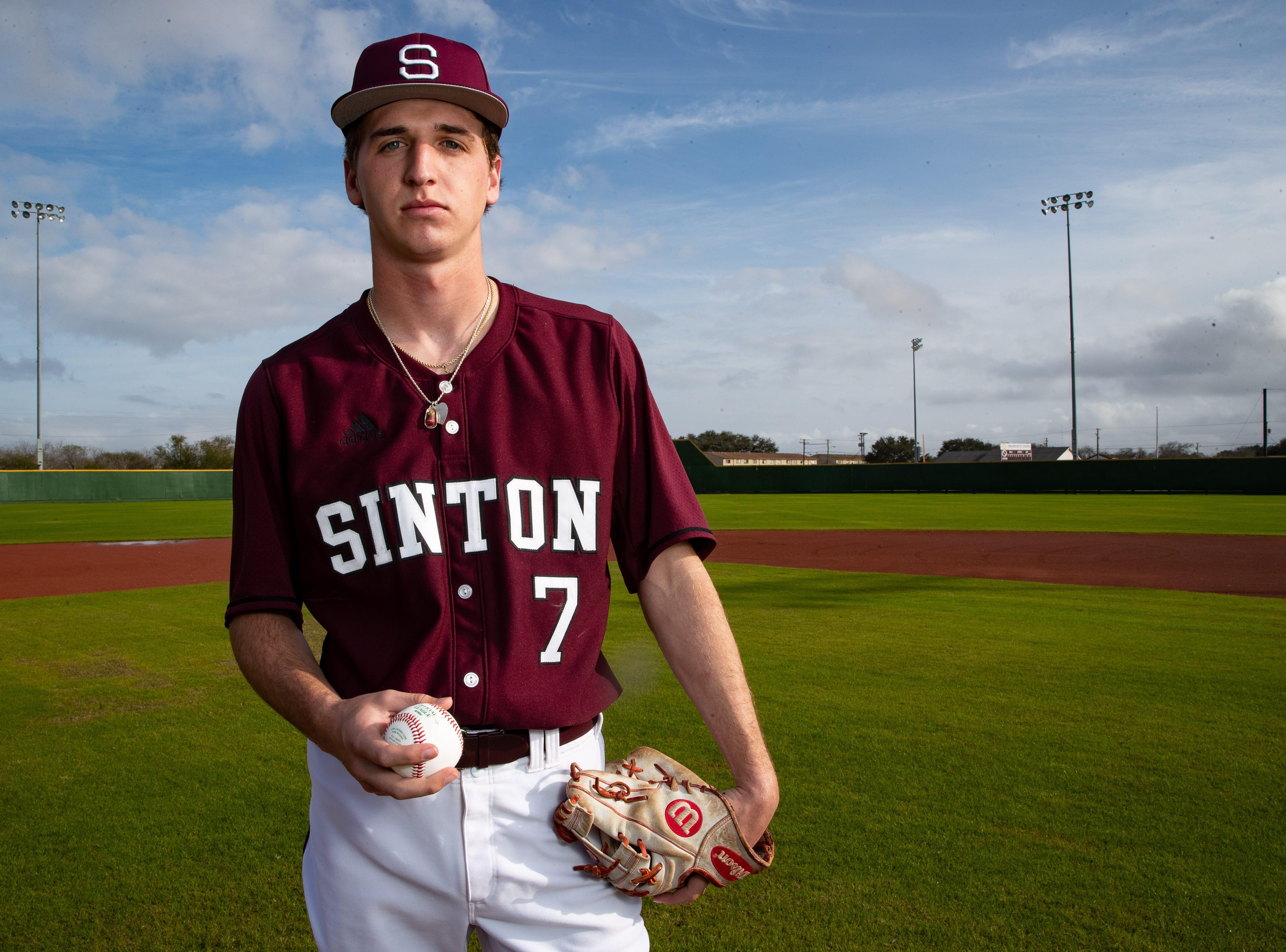 Sinton High School baseball pitcher Brett Brown poses for a portrait.