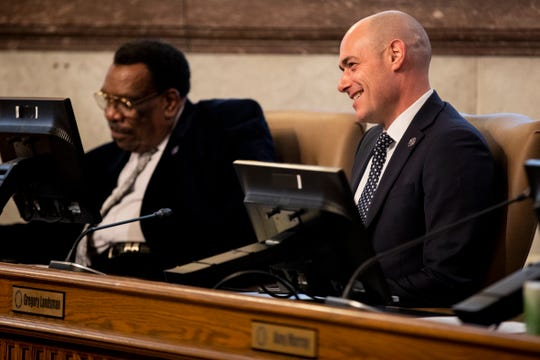 City Council Member Greg Landsman listens to public comment during a city council meeting inside the City Hall Council Chambers in Downtown Cincinnati Thursday, January 24, 2019.