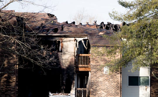 A view of fire damage on the apartment on Monday, Feb. 4, 2019, in Clermont County after it was damaged in a fire that occurred during a police standoff on Saturday.