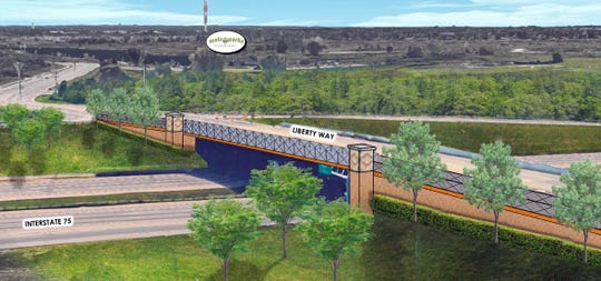 This artist's rendering depicts what a pedestrian bridge on Liberty Way over Interstate 75 might look like.
