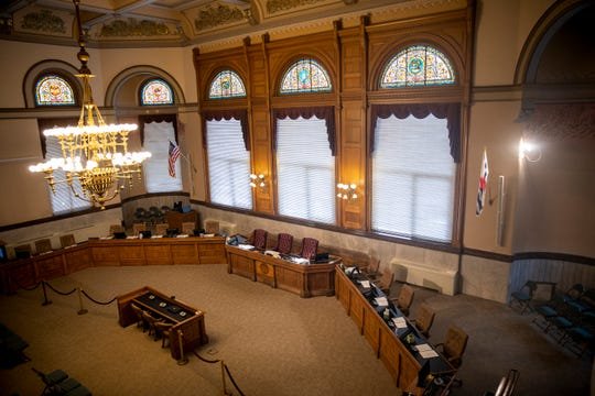 The City Hall Council Chambers in Downtown Cincinnati is empty before the city council meeting Thursday, January 24, 2019.