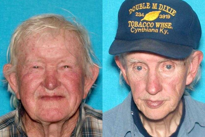 Obie Fugate (left) and Roy Fugate (right) were found dead outside their home by family members on Saturday, according to the Boone County Sheriff's Department.