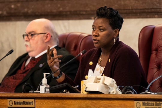 City Council Member Tamaya Dennard listens to public comment during a city council meeting inside the City Hall Council Chambers in Downtown Cincinnati Thursday, January 24, 2019.