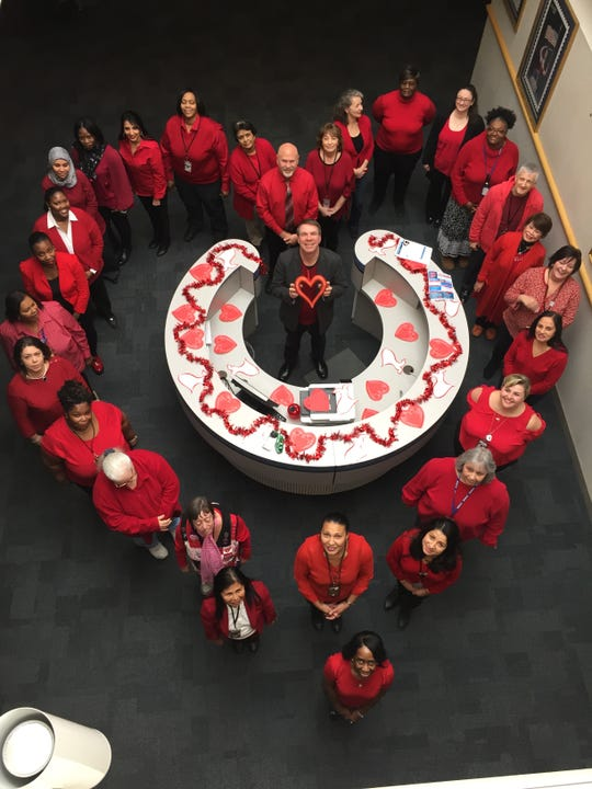 Administrative employees at the Postal Service's facility at 21 Kilmer Road in Edison, came together on Friday, Feb. 1 to support the American Heart Association's National Go Red For Women Day to raise awareness of cardiovascular disease. The American Heart Association indicates heart disease is the No. 1 killer of women, killing more women than all forms of cancer combined.