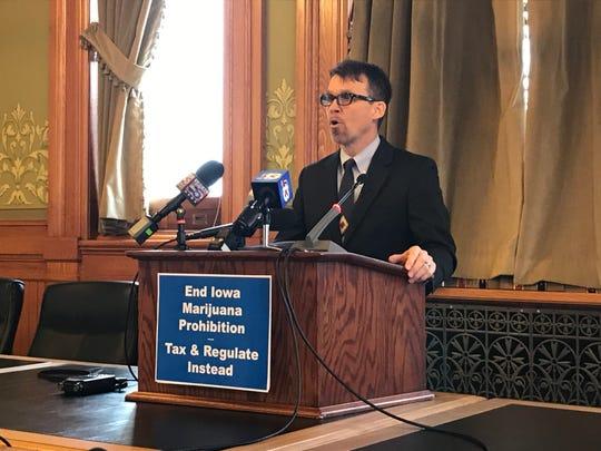 State Sen. Joe Bolkcom, D-Iowa City, proposes legalizing marijuana in Iowa at a news conference on Monday, Feb. 4, 2019.