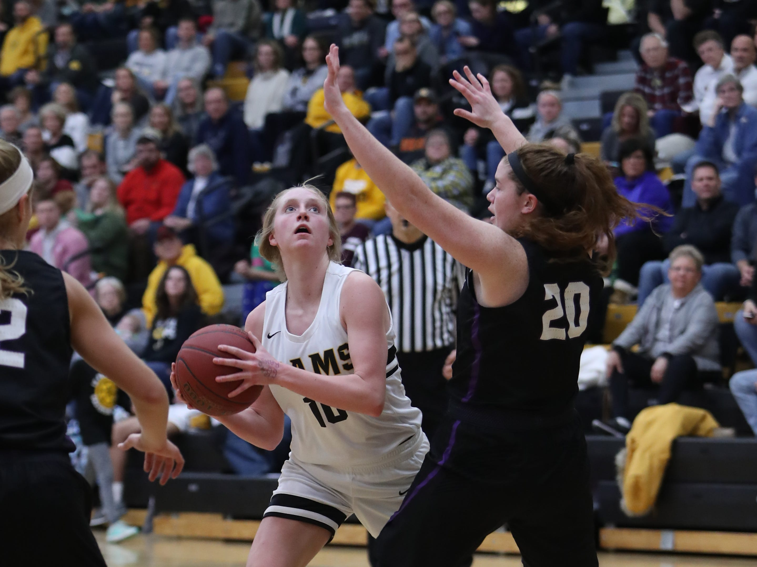Waukee Warriors' Anna Brown (20) defends Southeast Polk Rams' Grace Larkins (10) during a game Feb. 1, 2019 at Southeast Polk High School. The Warriors beat the Rams 66 to 43.