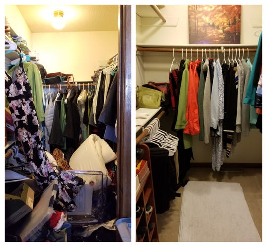 Beth Dorsett of West Des Moines decluttered her walk-in closet after following Marie Kondo's method.