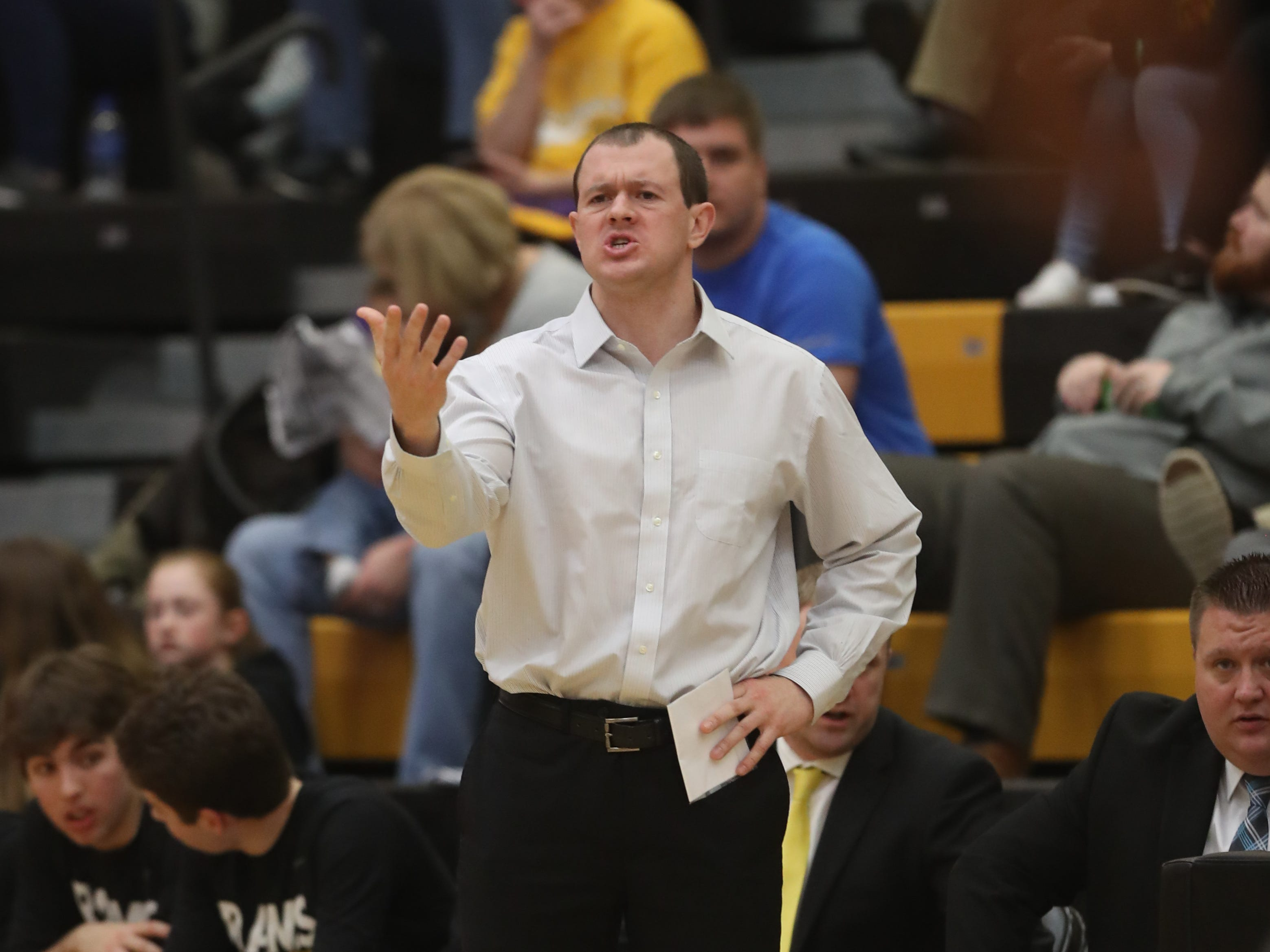 Southeast Polk Rams' Alan Jenkins watches his team play the Waukee Warriors during a game on Feb. 1, 2019 at Southeast Polk High School.