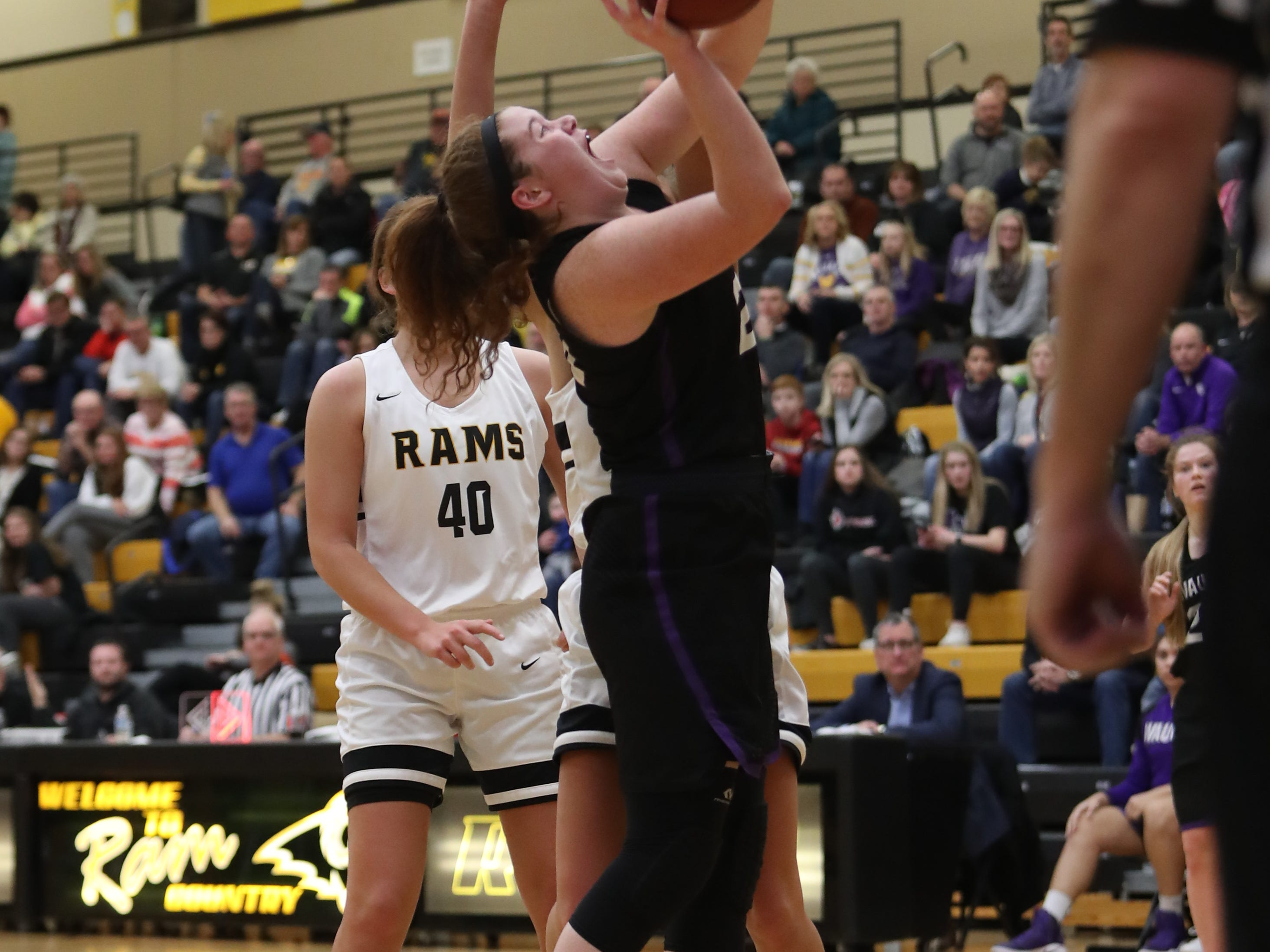 Waukee Warriors' Anna Brown (20) scores against the Southeast Polk Rams during a game Feb. 1, 2019 at Southeast Polk High School.