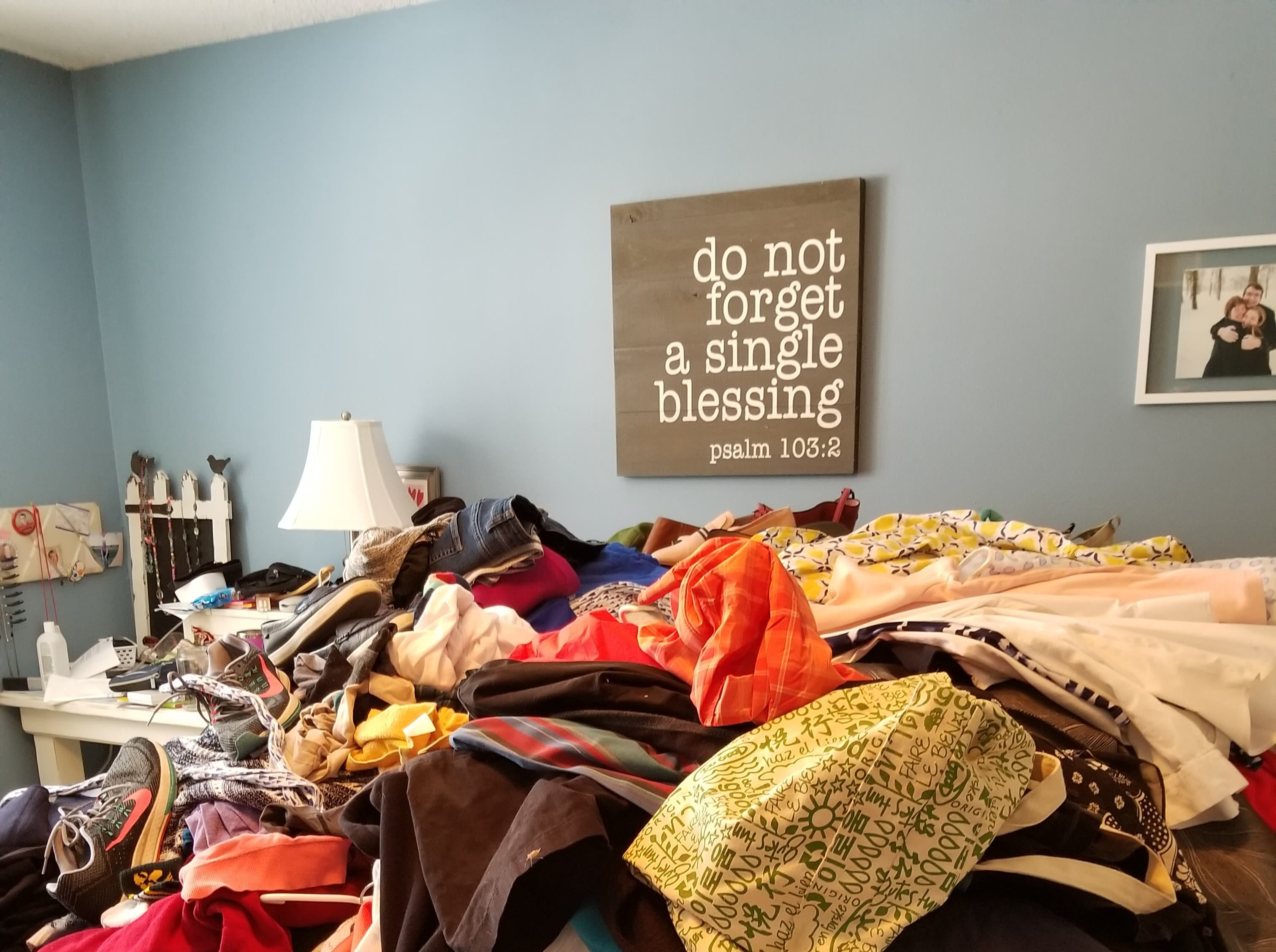 Following the KonMari method, Beth Dorsett pulled out all her clothing and placed it in one big pile before sifting through it.
