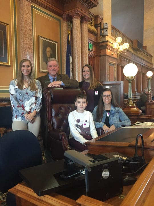 State Rep. Scott Ourth met with Amy Lenger and Jennifer May, both of Indianola, and Zach Bailey and Justine Bailey, both of West Des Moines, for Decoding Dyslexia Iowa at the state Capitol.