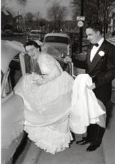Barney Hanson with his wife Patricia on their wedding day in 1955.