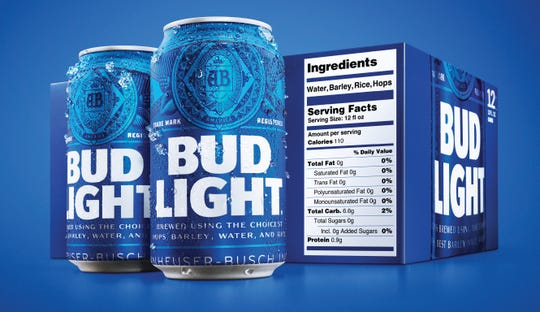 This undated product image provided by Bud Light shows a new nutrition label.