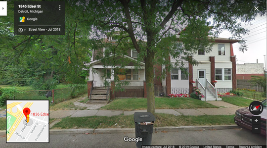 1836 Edsel (left) the only property that has received a building permit in Detroit since December 11, 2018.