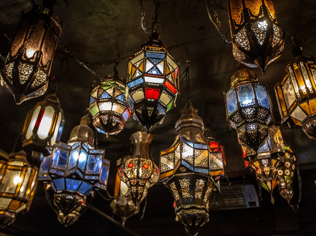 Moroccan lamps hang from the ceiling in the Uralli Cigar bar at the Detroit Club in downtown Detroit on Friday, Feb. 1, 2019.