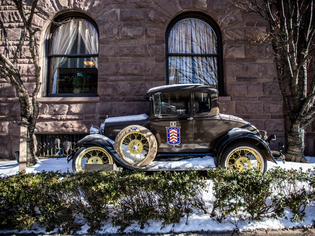 A classic Ford roaster sits outside at the Detroit Club in downtown Detroit on Friday, Feb. 1, 2019.