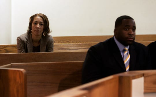 Christine Beatty and Mayor Kwame Kilpatrick are present at the court of Judge Ronald  Giles at 36th District in Detroit. Attorneys for Mayor Kwame Kilpatrick and Christine Beatty are in court this afternoon asking the judge to stop the Wayne County Prosecutor's Office from filing documents containing text messages.  Thursday, July 3,  2008.