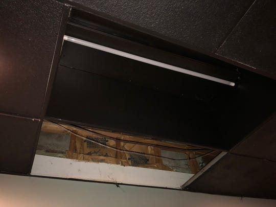 The hole left in the ceiling of a Royal Oak bar after Maroon 5's Super Bowl halftime performance.