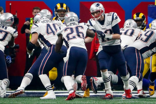 Rookie running back Sony Michel scores the lone touchdown of Sunday's Super Bowl.