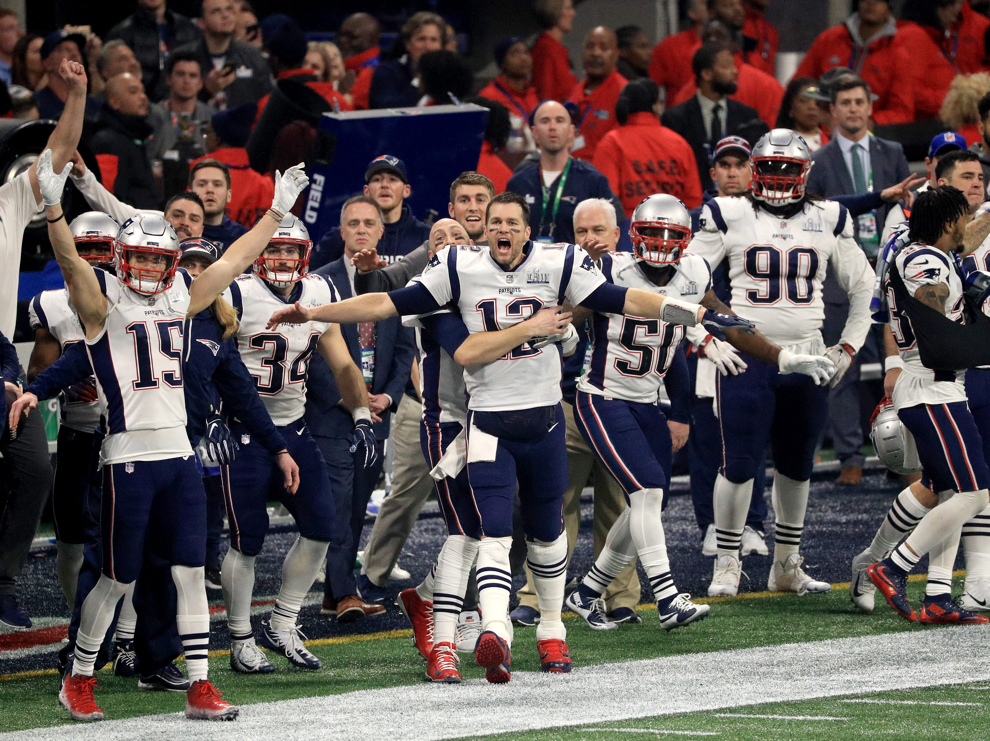Tom Brady #12 of the New England Patriots and teammates celebrate after winning the Super Bowl LIII at against the Los Angeles Rams Mercedes-Benz Stadium on February 3, 2019 in Atlanta, Georgia. The New England Patriots defeat the Los Angeles Rams 13-3.