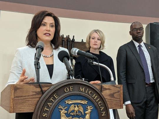 Michigan Gov. Gretchen Whitmer, environmental department director Liesl Clark and Lt. Gov. Garlin Gilchrist on Feb 4, 2019.